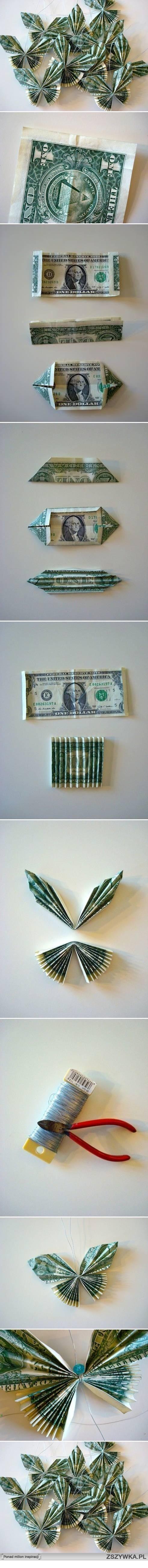 Бабочки из денежных купюр