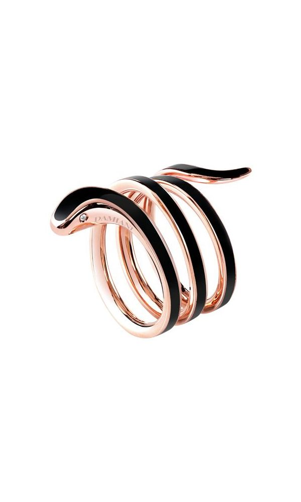 Eden black ceramic and pink gold ring with diamond
