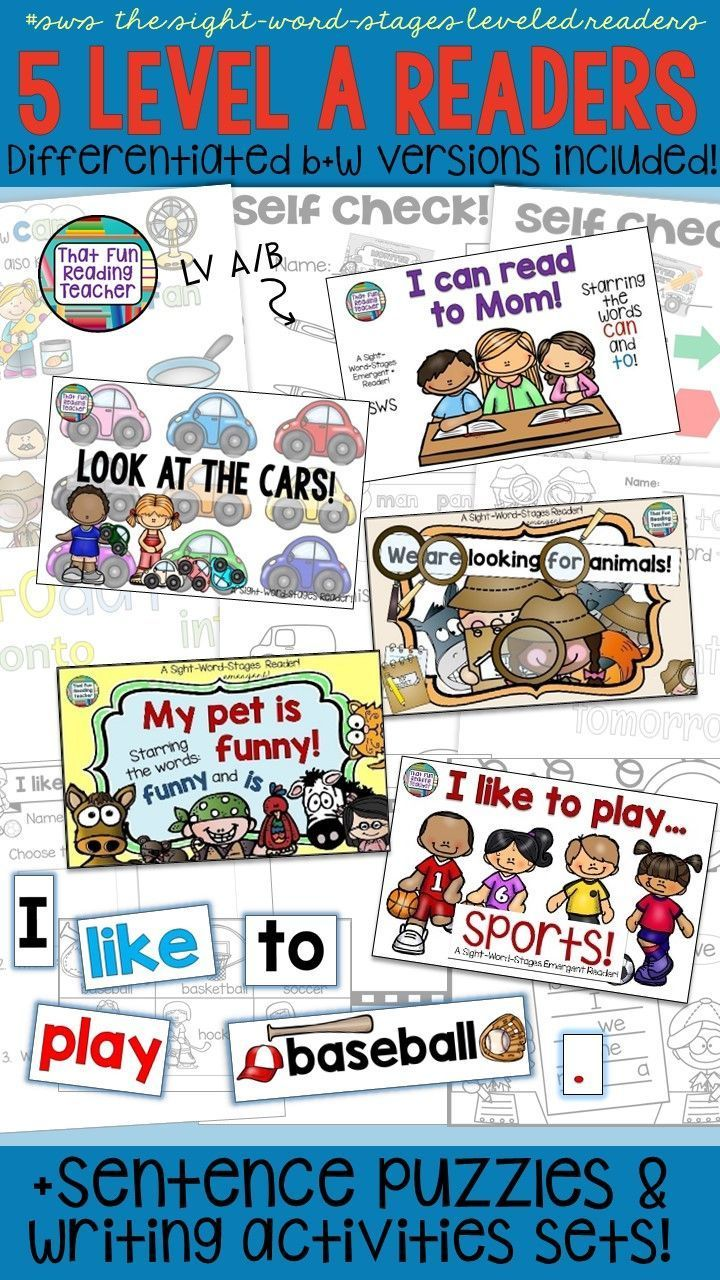 Use leveled sight-word readers in your classroom? Here's a manageable way to start and maintain your own guided reading  collection! Keep a color set in the classroom and choose which line-art version of these sight-word stages readers to give to students, based on the support you need! Sentence puzzles, visual checklist and fun follow-up incl. Level A 5 pack! $ #SWS