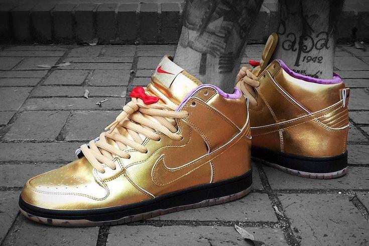 Humidity x Nike Dunk High Pro SB 'Metallic Gold'   Basket homme ...