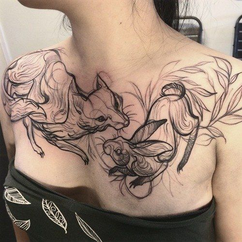 Fox and hare chest tattoo - wonder if this was kept black or finished in color?