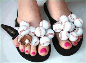 Cute! Baseball flip flops