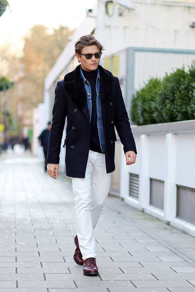Oliver Cheshire  Private White jacket, Levis jacket, Hackett jumper, Uniqlo jeans, Marks & Spencer boots, DITA sunglasses London Collections Men AW16: Street Style   ELLE UK