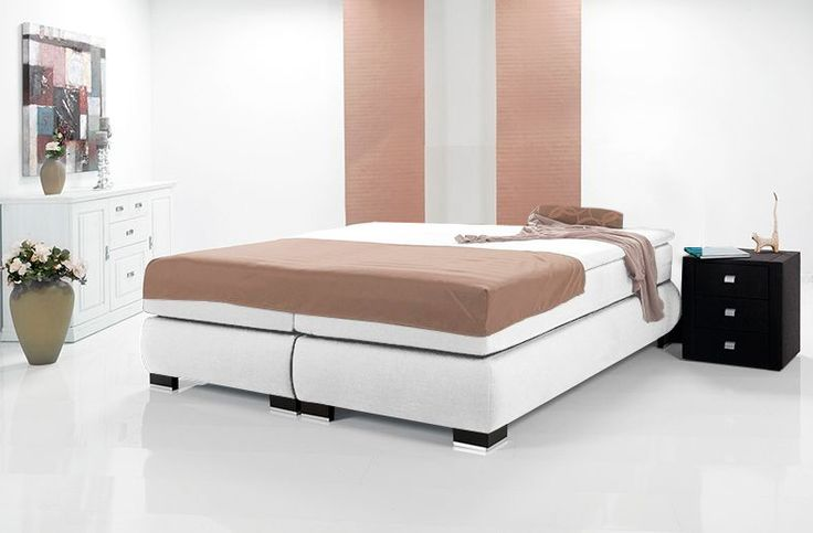 LUXUS Boxspringbett mit 1000 Federn / m2 ohne Kopfteil rot  100 x 220 | Webstoff | rot | Härtegrad 3