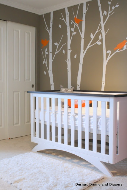 Love the contemporary lines of the crib. Eden Baby Furniture-90210 Madison 4-in-1 convertible crib, white and espresso.