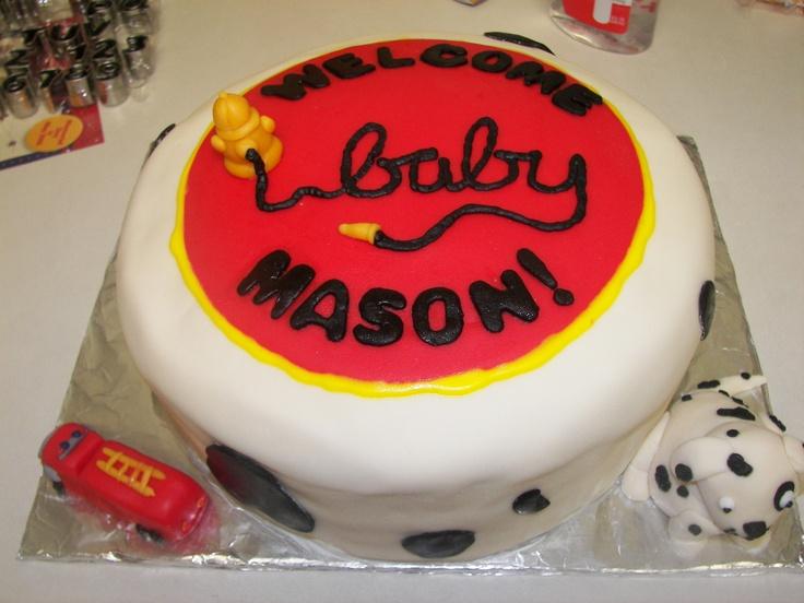 fireman baby shower cake