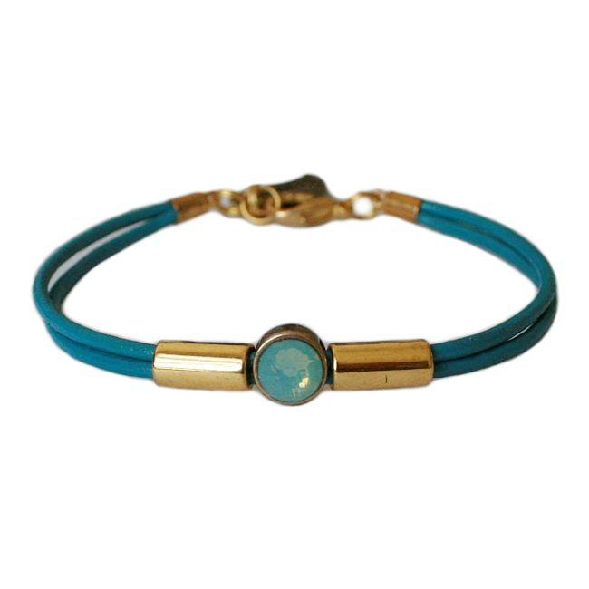 Armband leder Balansz  LA88, turkoois #bracelet #leather #fine #turquoise