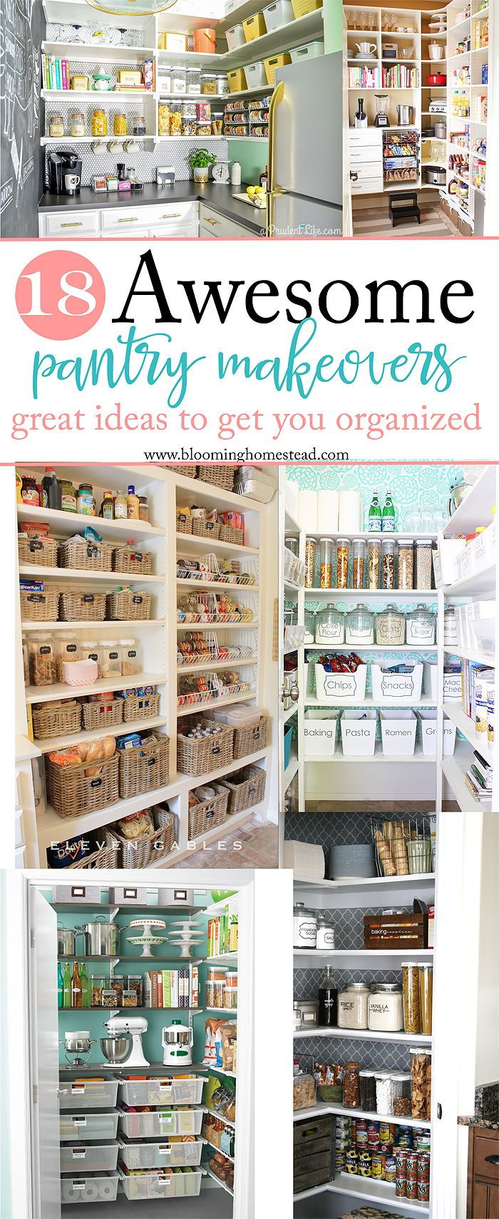 Looking to get organized? Check out this collection of 18 different sizes and styles of pantry makeovers. So many ideas for inspiration! Get that kitchen into shape!