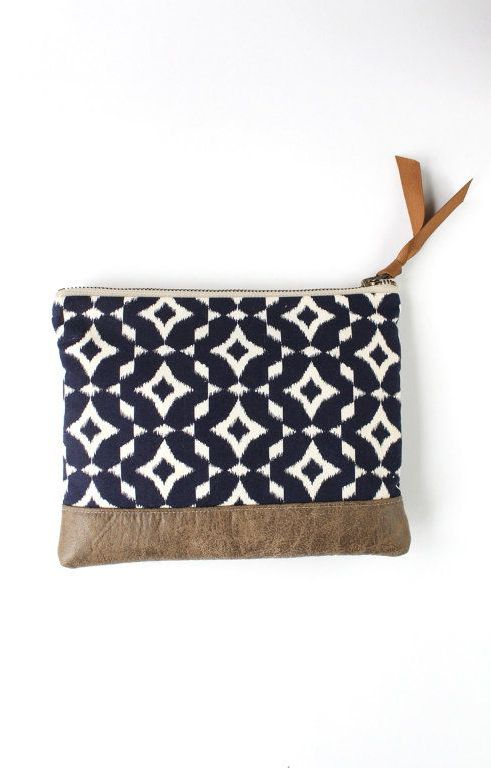 Navy Ikat Clutch Purse with Brown Vegan Leather