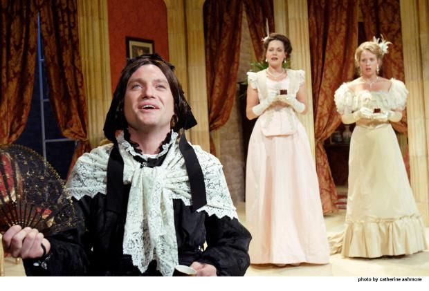 London Theatre: Charley's Aunt: Mathew Horne (Lord Fancourt Babberley), Leah Whitaker (Kitty), Ellie Beaven (Amy) © Photo: Catherine Ashmore