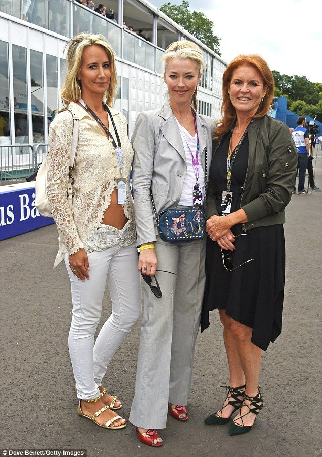 Girls' day out: Fergie poses for a photo with Lady Victoria Hervey (far left) and Tamara B...