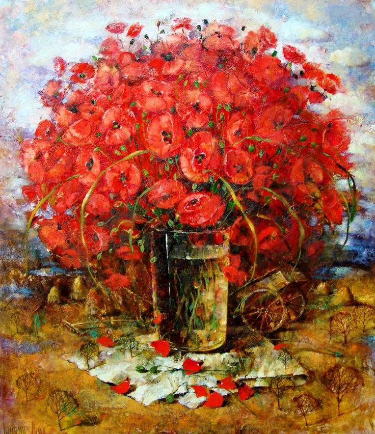 "Saatchi Art Artist Aurum Art Centre Odessa; Painting, ""By sunset day wore on, only red poppies is blazing riot ..."" #art"