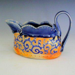 Handmade gravy boat blue orange