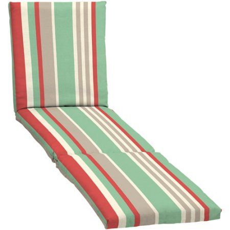 Mainstays Outdoor Chaise Cushion, Turquoise Coral, Orange