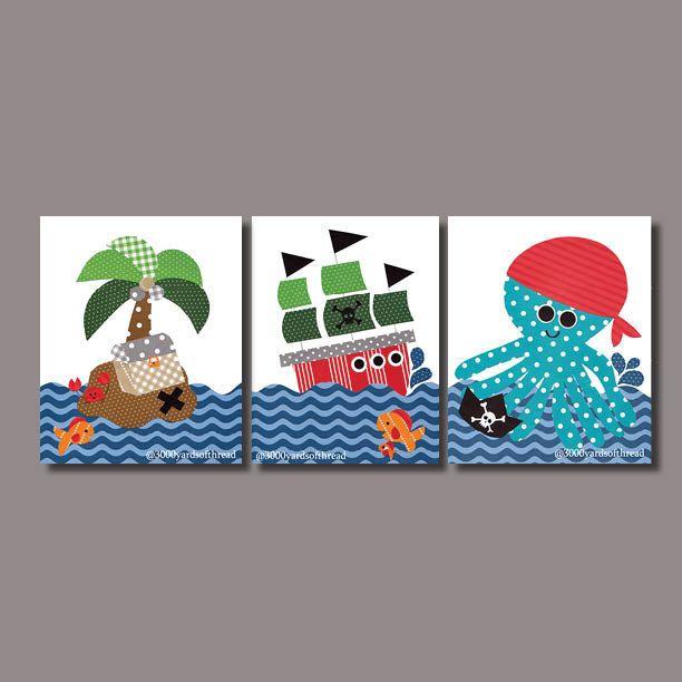 Arte pirata guardería náutica imprime vivero decoración pared
