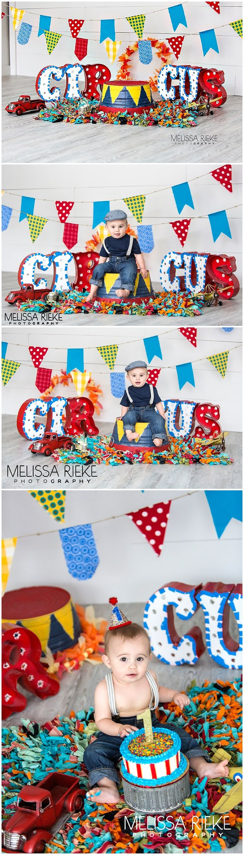 First Birthday Circus Cake Smash http://www.melissariekephotography.com/first-birthday-circus-cake-smash/