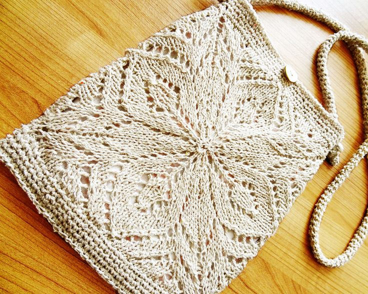 Lacy summer bag: Use 2 knit squares to make a small messenger bag, close by m...