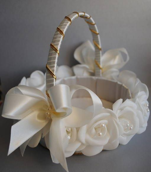 Cesta para FLORISTA forrada em cetim e decorada com botoes rosas em tafeta salpicada de perolas. podera ser feita na sua cor desejada. esta peça esta na cor marfim. R$ 74,86
