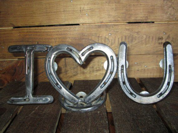 Small I Heart You Picture Frame Horseshoe Art Horseshoe Decor