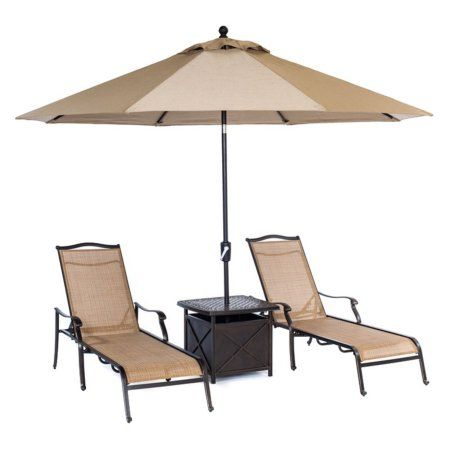 hanover outdoor monaco chaise lounge set with 11u0027 umbrella and side table cedar