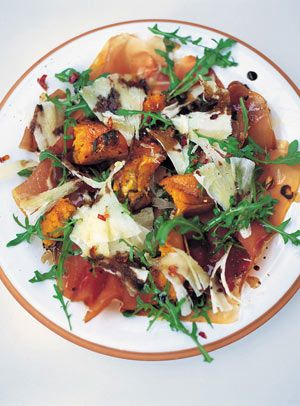 Warm salad of roasted squash, prosciutto & pecorino With rocket and balsamic dressing This is one of those easy salads with a twist. You may have tried a Parma ham, rocket and Parmesan salad with a little balsamic, but by adding warm roasted squash and trying it with pecorino, which is slightly smoother than Parmesan, it's a real pleasure and even feels a bit posh.