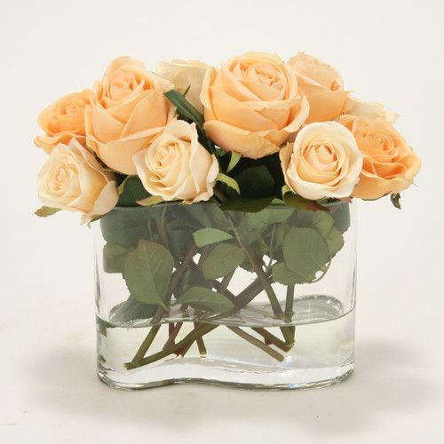 Found it at Wayfair - Waterlook Peach and Rose Silk Floral in Wavy Rectangle Glass Vase