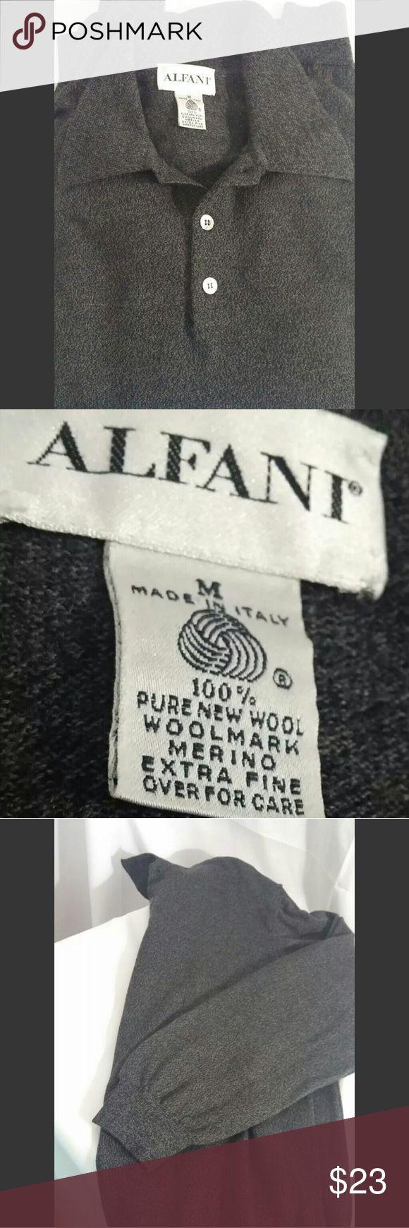 Men's medium Alfani wool pullover sweater men's long sleeve ALFANI 100% wool charcoal gray pullover sweater. button up neck. made in Italy. size: Medium.  223/clo2 Alfani Sweaters