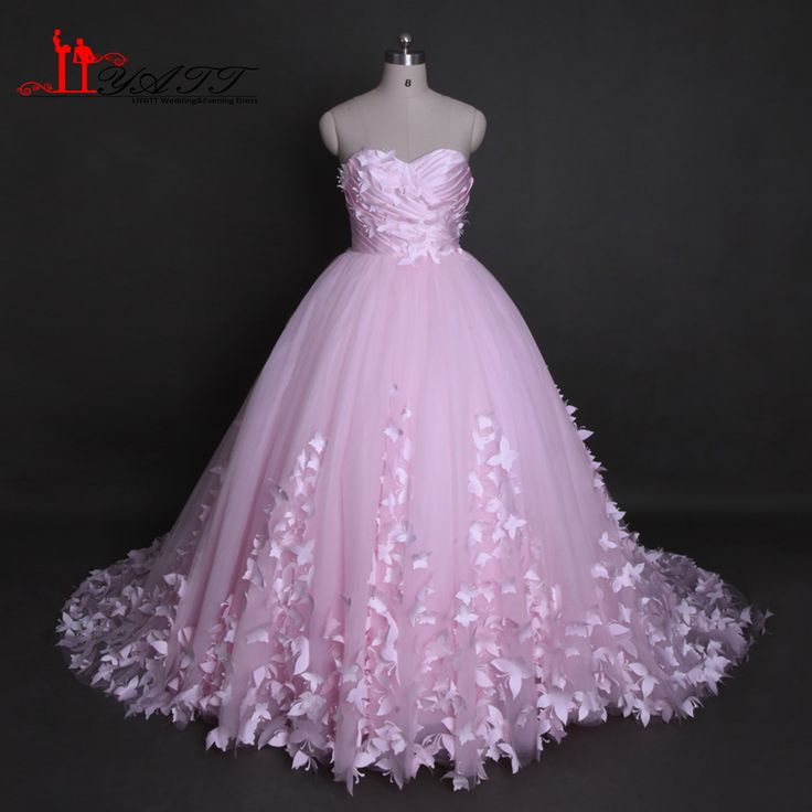 Find More Wedding Dresses Information about Liyatt Pink Long Wedding Dresses 2017 Real Photos Sweetherat Ball Gown 3D Buttflies Bridal Wedding Dress Vestido de Novia MN022,High Quality vestidos de novia,China long wedding dress Suppliers, Cheap wedding dress from Liyatt Factory Store on Aliexpress.com