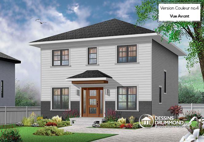 Maison de style transitionnel, 3 à 4 chambres, buanderie, grand îlot, aire ouverte, vestibule fermé (# 3716-V1) http://www.dessinsdrummond.com/detail-plan-de-maison/info/bosquet-2-transitionnel-1003212.html