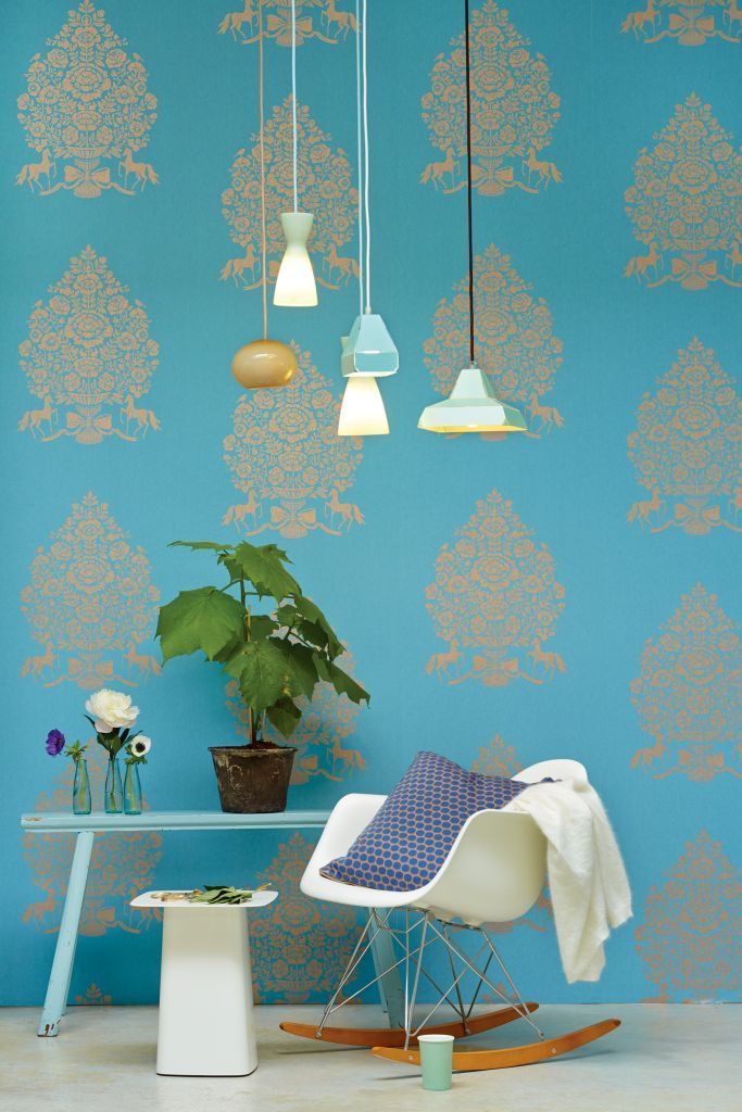 E341052 Bold Patterned Wallpaper On Sky Blue Background By Pip Studio For Eijffinger Designed And