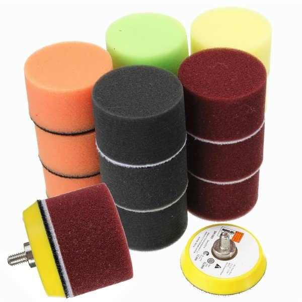 Description: 16pcs 2 Inch Sponge Flat Polishing Buff Pad for Car Polisher Specification:   	Material: Sponge  	Form: roundness  	Diameter: 50mm  	Thicknes: 30mm  	Color: yellow/ black/ green/ orange/ red  Features:  	-Adopt with High strength polymerase sponge, abrasion resistance to 8...