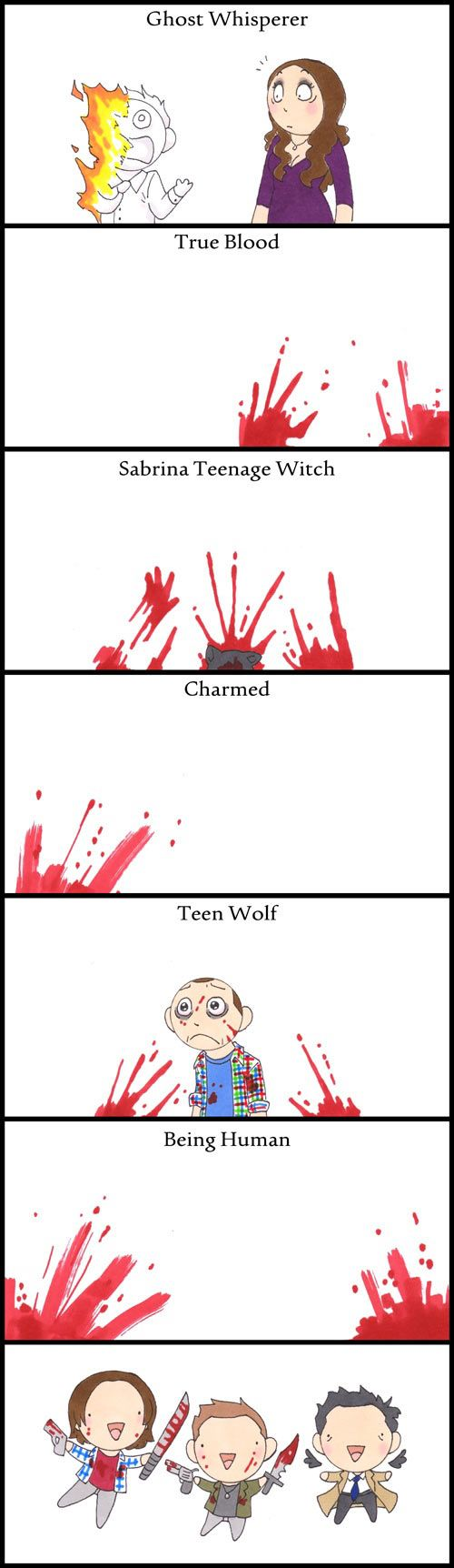 Haha.. this is what would happen to many well-loved TV shows if the Winchesters also existed in their reality.