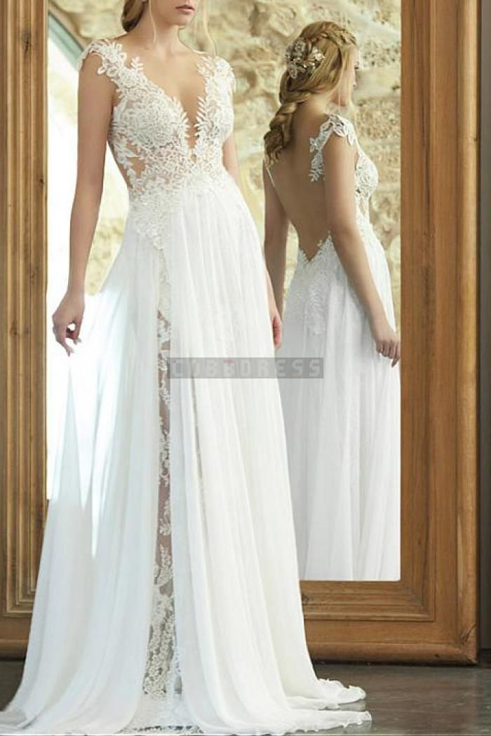 Plunging Sexy Sleeveless A-line Chiffon Slit Wedding Dress
