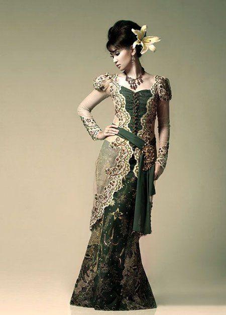 baju-batik-kombinasi-kebaya-hijau.jpg (450×627)