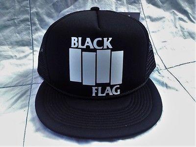 Black Flag Trucker Rock Snapback Baseball Cap Black Hardcore Punk