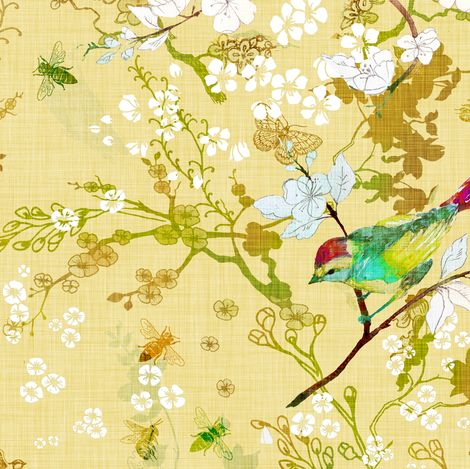 Bird The Bees Butter Yellow Fabric