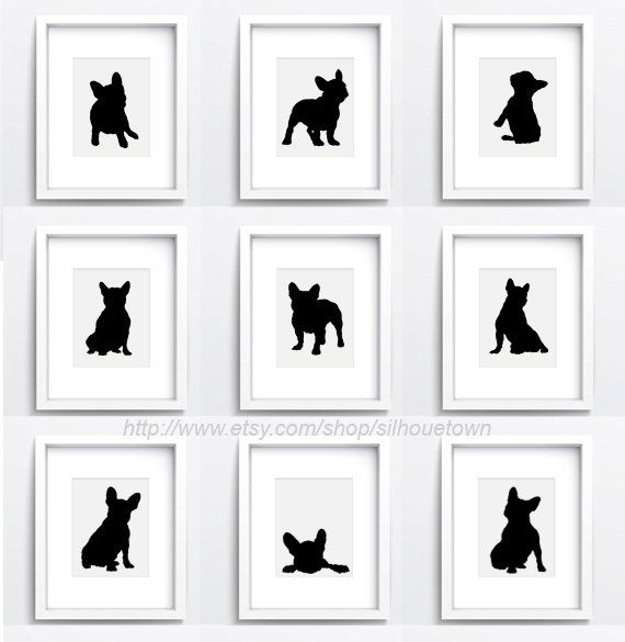 French bulldog, Set of 9, dog silhouettes, Custom pet portrait, Black frenchie illustration, Giclee Fine Art Print, Home decor by ColorWatercolor on Etsy