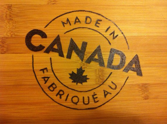 Made in Canada patriotic cutting board on Etsy, $22.00 CAD