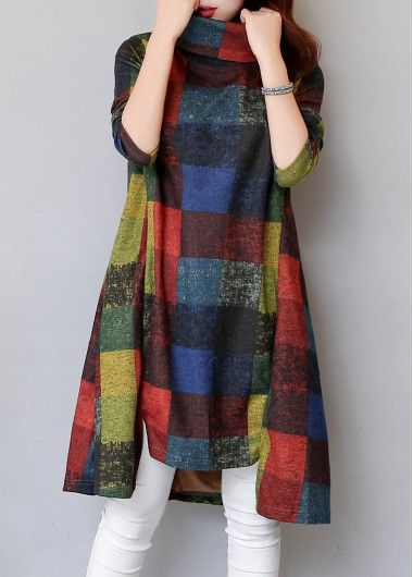 Asymmetric Hem Long Sleeve Turtleneck Plaid Straight Dress   Rosewe.com - USD $26.26