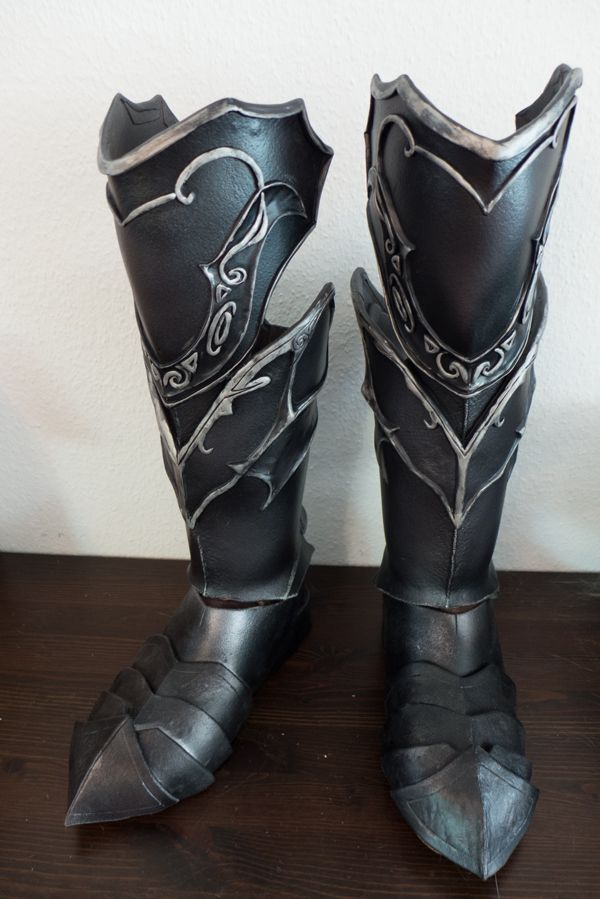 Skyrim Ebony Boots by Folkenstal armor cosplay costuem LARP equipment gear magic item | Create your own roleplaying game material w/ RPG Bard: www.rpgbard.com | Writing inspiration for Dungeons and Dragons DND D&D Pathfinder PFRPG Warhammer 40k Star Wars Shadowrun Call of Cthulhu Lord of the Rings LoTR + d20 fantasy science fiction scifi horror design | Not Trusty Sword art: click artwork for source