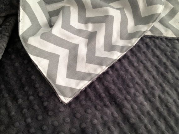 Baby Blanket, Grey and White Cheveron, Grey Charcoal Minky