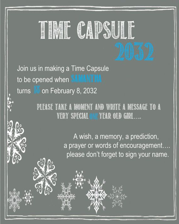 Chalkboard Time Capsule Sign for a First Birthday