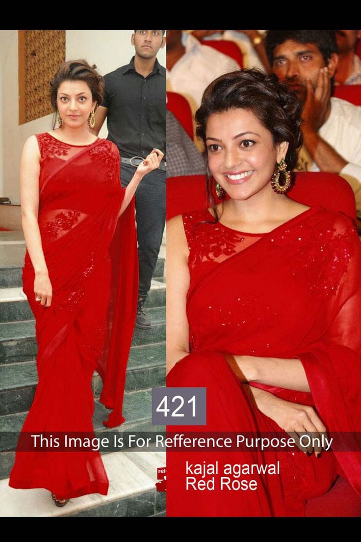 Kajal Aggarwal Red Georgette Latest Bollywood Saree