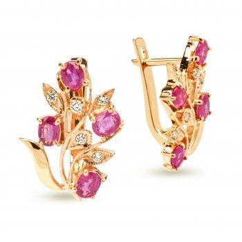 Серьги из золота с рубинами в цветочном стиле