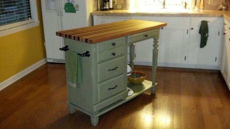 Repurposed Desk with butcher block top