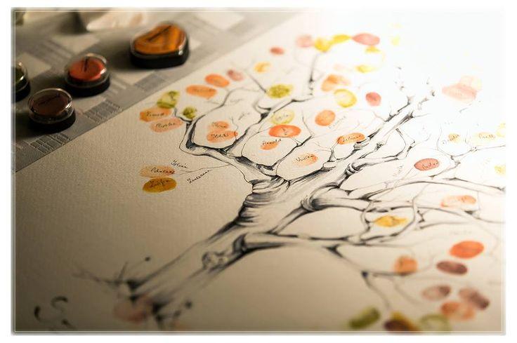 Handpainted wedding tree for a fingerpring guetbook idea... created by Enchantée