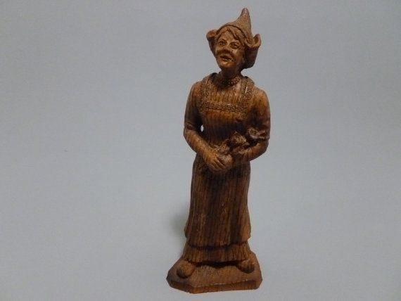 Vintage Wooden Dutch Girl Figurine French by Tracyloustreasures