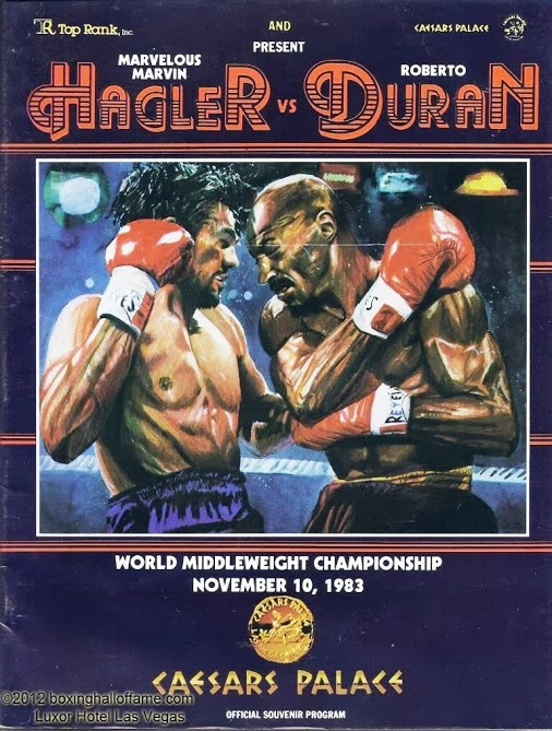 Duran moved up from lightweight - to welterweight - to middleweight - to fight Marvelous Marvin Hagler. And go the full 15 rounds with one of the most vicious fighters of the era.  boxinghalloffame.com
