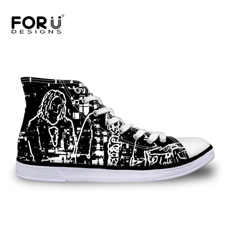 FORUDESIGNS Black Men Shoes Cool Classic High Top Canvas Shoes for Men Comfort Male Flat Walking Shoes Vulcanize Canvas Shoes