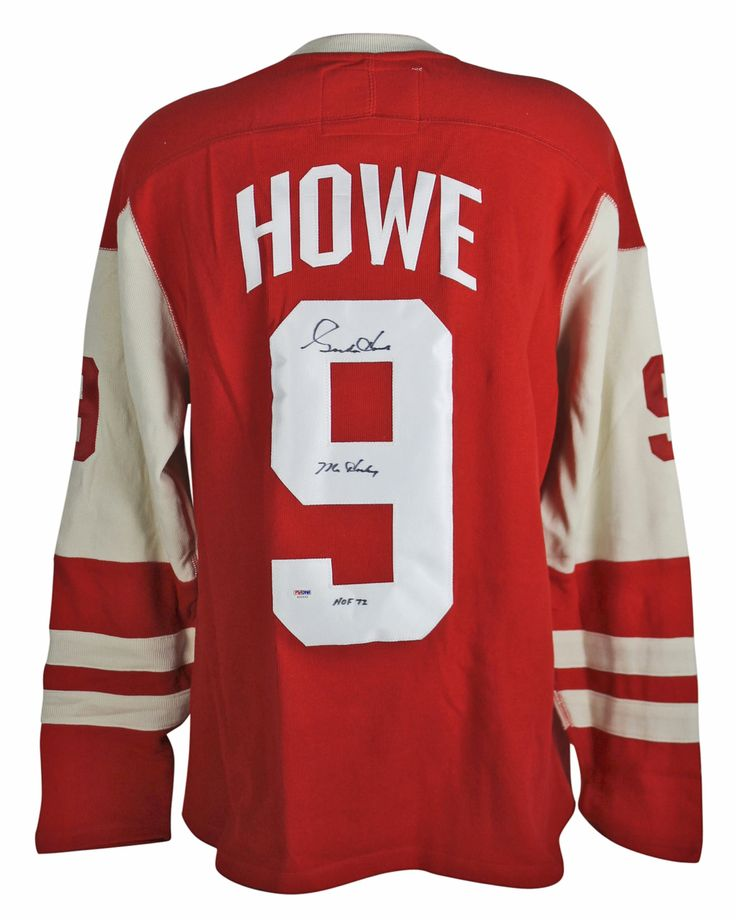 """Gordie Howe Detroit Red Wings Autographed Red Ccm Sweater Jersey $782.99   This is a """"Mr. Hockey HOF 72"""" Authentic Signed Red CCM Sweater Jersey that has been Personally Signed & Autographed by Gordie Howe of the Detroit Red Wings. This item is 100% Authentic to include a Certificate of Authenticity (COA) / hologram by PSA/DNA #S32532. VIP Collectibles offers a 100% Lifetime Guarantee on all Autographed & Signed Gordie Howe memorabilia."""